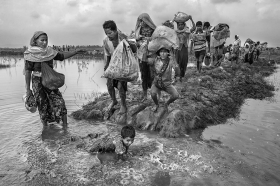Thousands of Rohingyas crossing the border between Myanmar and Bangladesh after the Burmese army started an operation against the Rohingyas, by burning and destroying their home in the Rakhine state of Myanmar. According to UNHCR, more than 723,000 refugees have fled to Bangladesh from Myanmar.