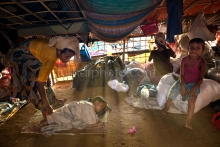 PALONGKHALI, UKHYA, COX'S BAZAR, BANGLADESH- SEPTEMBER 26, 2017: Inside of a house in newly built temporary camp for Rohingya people at Palongkhali, Cox's bazar.Thousands of Rohingyas still crossing the border between Myanmar and Bangladesh after the Burmese army started an operation against the Rohingyas, by burning and destroying their home in the Rakhine state of Myanmar, as now more than 410,000 Rohingyas crossed the border and the United Nations expect the number rises to 1 million by the end of the year.