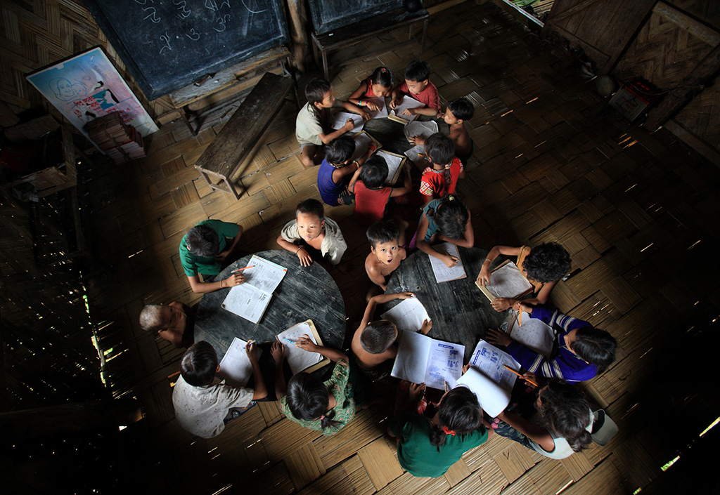 Children are study at the primary school at Tindu, Bandarban hill district of Bangladesh.