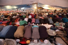 Devotees are praying at Bishwa Ijtema field. January 12, 2013.