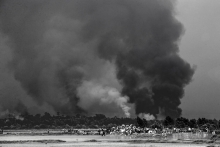 Rohingayas houses are burning  by Myanmar army.