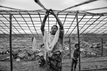Rohingya refugees making new houses at Palongkhali camp in Cox's bazar, Bangladesh. As of December 2017, an estimated 6,55,000 Rohingya people fled to Bangladesh to avoid the persecution from the Burmese military started on 25 August 2017.
